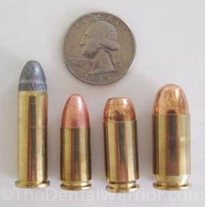 Left to right: .38-Special, 9-mm, .40-cal., .45-cal.