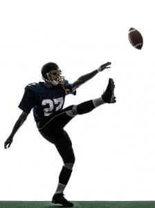 american football player man kicker kicking silhouette