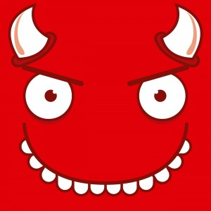 A Vector Cute Cartoon Devil Smiling Face