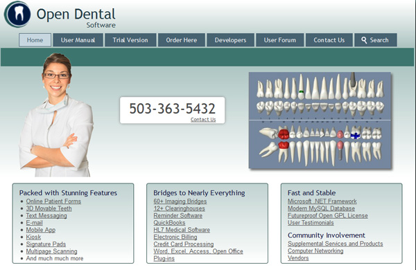 Open Dental website home page.