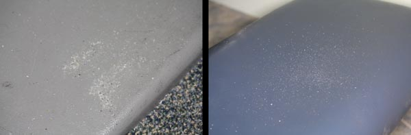 He really did come straight from the beach!  Sand on the base of the chair (left) and at the foot of the chair (right).