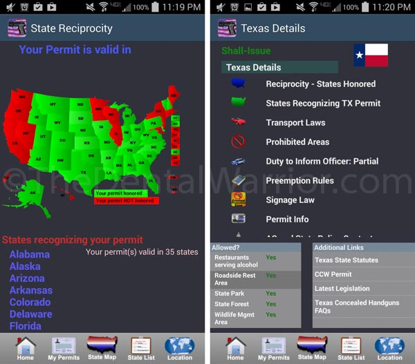 Gun Laws for 50 States phone app provides a lot of information.