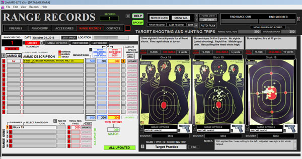 Second Amendment Firearms Database Range Records screen.