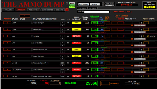 Second Amendment Firearms Database Ammo Dump screen.